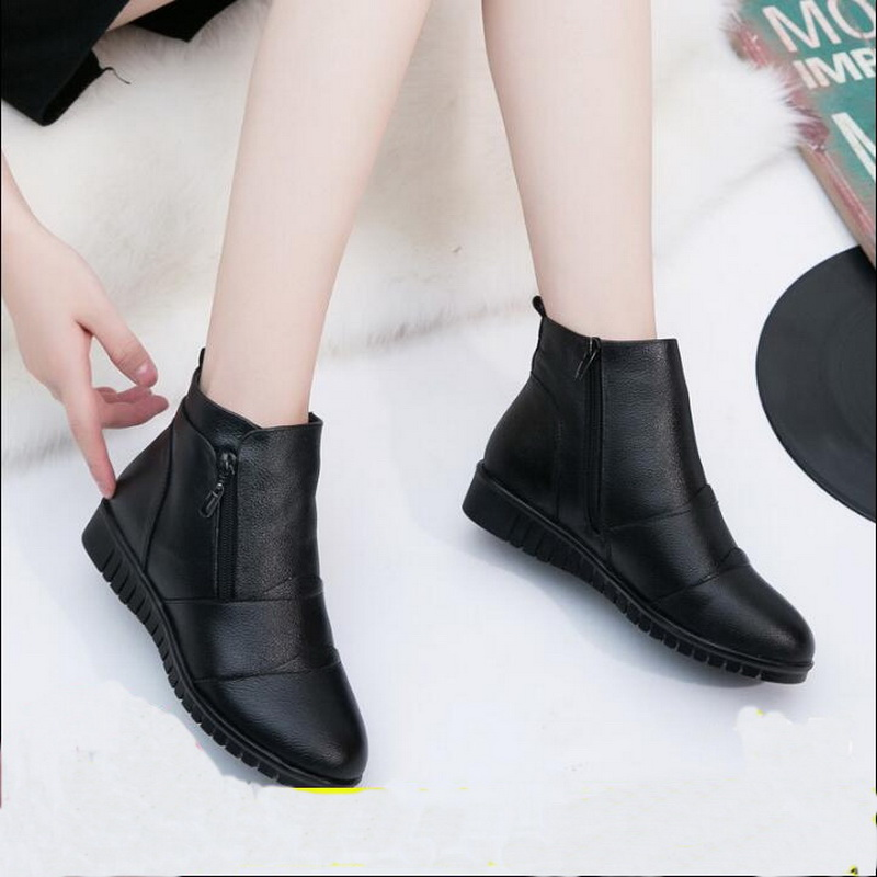 RUSHIMAN Fashion Winter Shoes Women's Genuine Leather Ankle Boots Casual Comfortable Warm Woman Snow Boots Flat Boots