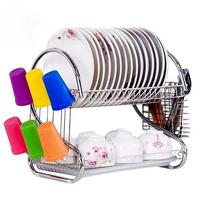 Stainless Steel Dish Rack S shaped Double layer Drain Dish Rack Removable Kitchen Storage Rack Save A Space Anti slip Stability