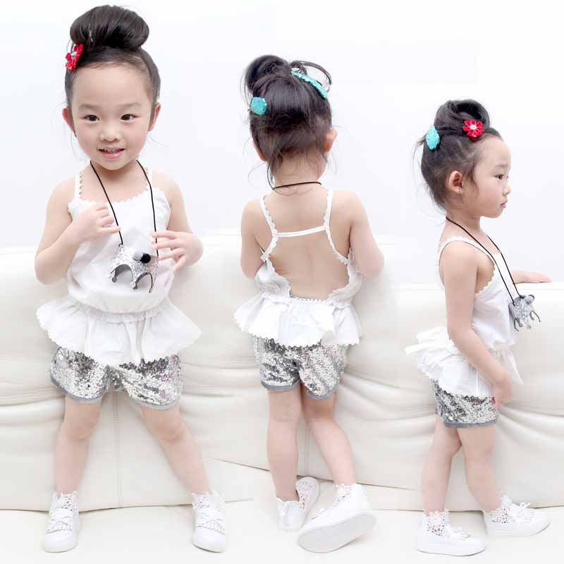 2016 New summer Toddler baby Girls Clothing Sets white Vest + sequin Shorts 2 Pcs kid Suits Children Clothing lace Sets