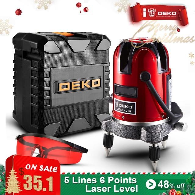 DEKO 5 Lijnen 6 Punten Laser Niveau Automatische Zelfnivellerende 360 Verticale en Horizontale Tilt & Outdoor Modus kan gebruik w/Ontvanger