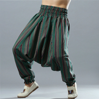 Striped Baggy Cotton Linen Lightweight Men Harem Wide Leg Aladdin Trousers Pants Male Big Drop Crotch Hippy Elastic Waist Pants