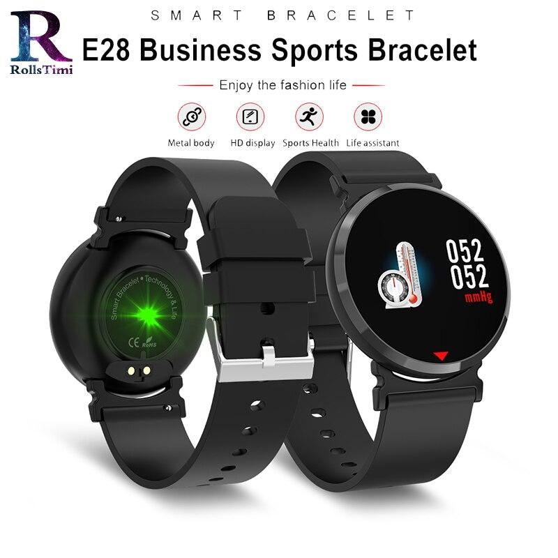 US $26 99 35% OFF|RollsTimi Fashion Smart watch men Fitness Tracker E28 HD  IPS Screen Smart Wristband Heart Rate Monitor Waterproof Smart Bracelet-in
