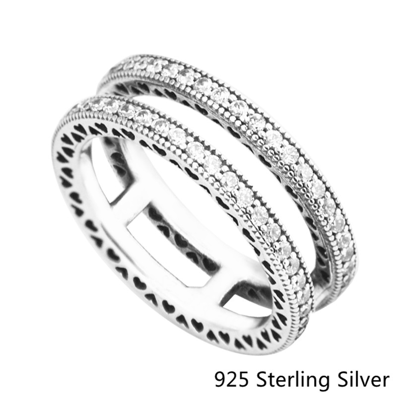 Double Circle Ring Authentic 925 Sterling Silver Rings