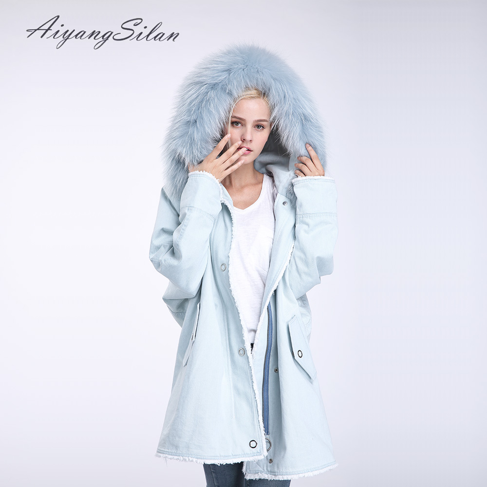 AiyangSilan Real Rex Rabbit Fur Liner Parka Natural Raccoon Fur Collar Jacket Women Jean Winter Warm Coat Outwear Long Jackets 2017 winter new clothes to overcome the coat of women in the long reed rabbit hair fur fur coat fox raccoon fur collar