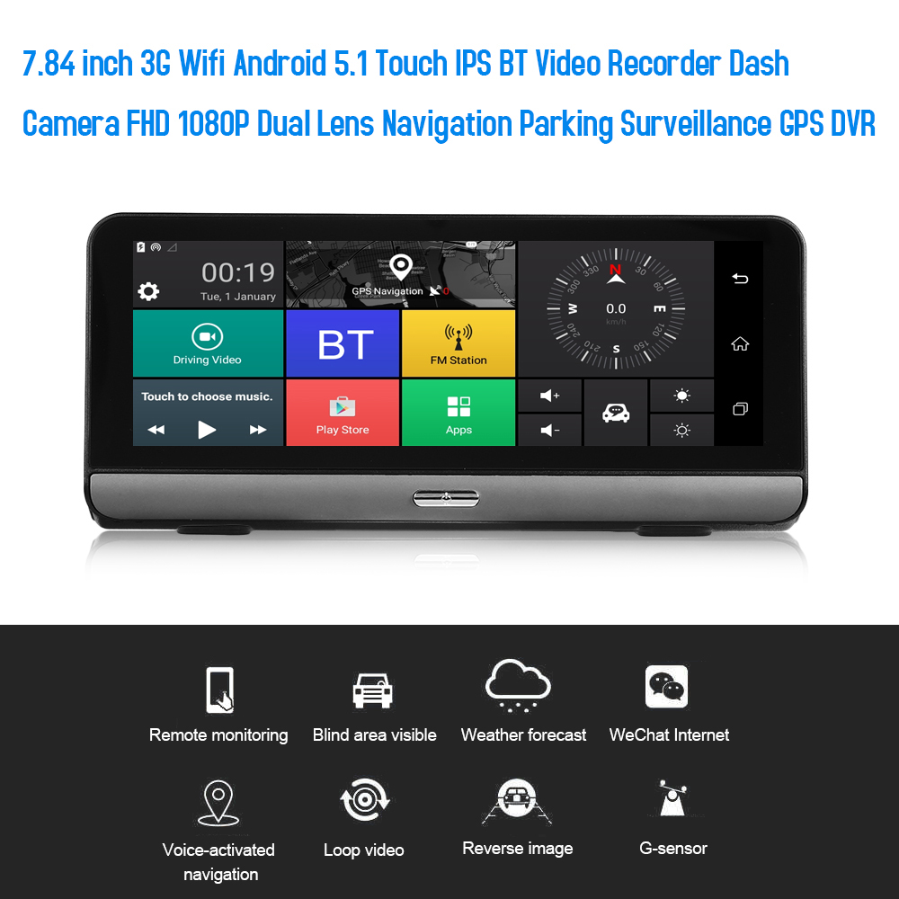 GPS DVR Video-Recorder Navigation Dash-Camera Dual-Lens Parking Wifi Android FHD 1080P