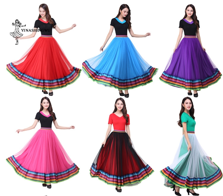 New Women Dance Big Swing Long Skirt Spanish Bullfight Dancing Flamenco Dance Costume  Ballroom Long Skirts Dancewear