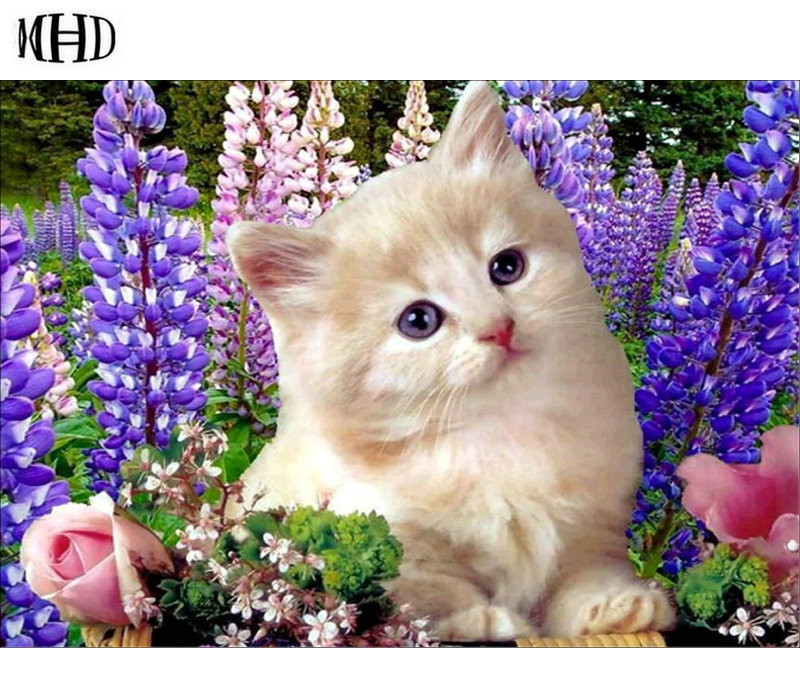 MHD 3d diy diamond paintings, cats, animal flowers, round & full diamond cross stitch horse, mosaic decoration, sewing craft gif