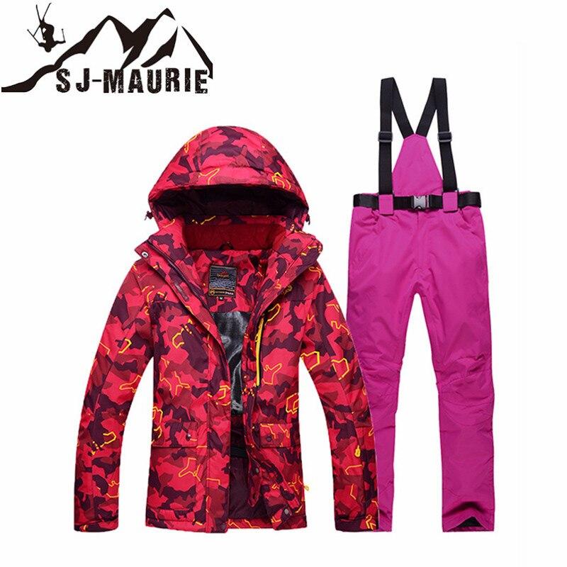 Sj-maurie combinaison de Ski professionnelle femmes veste de neige neige en plein air hiver randonnée Snowboard combinaison de neige imperméable coupe-vent combinaison de Ski