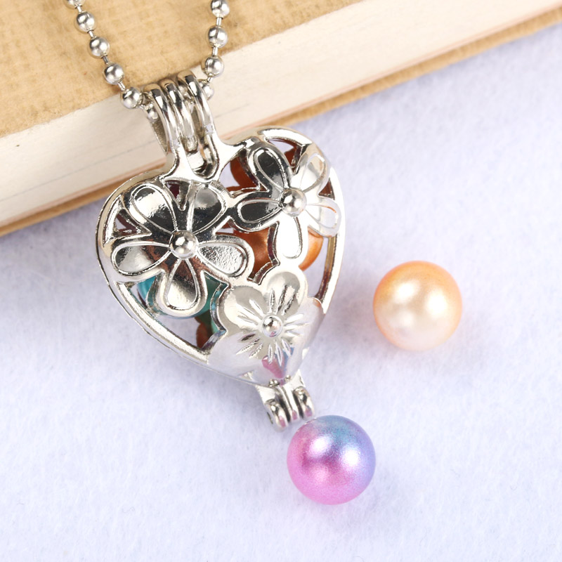 silver Love Flower Pearl Cage Jewelry Making Supplies Bead Cage Pendant Aroma Essential Oil Diffuser Locket For Oyster Pearl locket