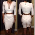 New fashion 2016 Sexy Bodycon 2 two piece set Women Stretch mesh neck Celebrity Half Sleeve White Blue Red Bandgae Party Dress