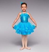 2016 New Girls Ballet Tutu Dress Shining Sequins Bodice Five Layers Mesh Tutu Skirt Kids Stage