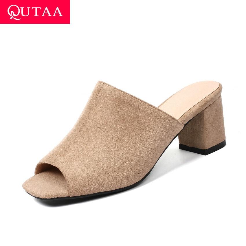 QUTAA 2019 Women Sandals Flock Scrub Sexy Peep Toe Fashion Coarse High Heel Slingback Summer Concise Ladies Shoes Size 34-43