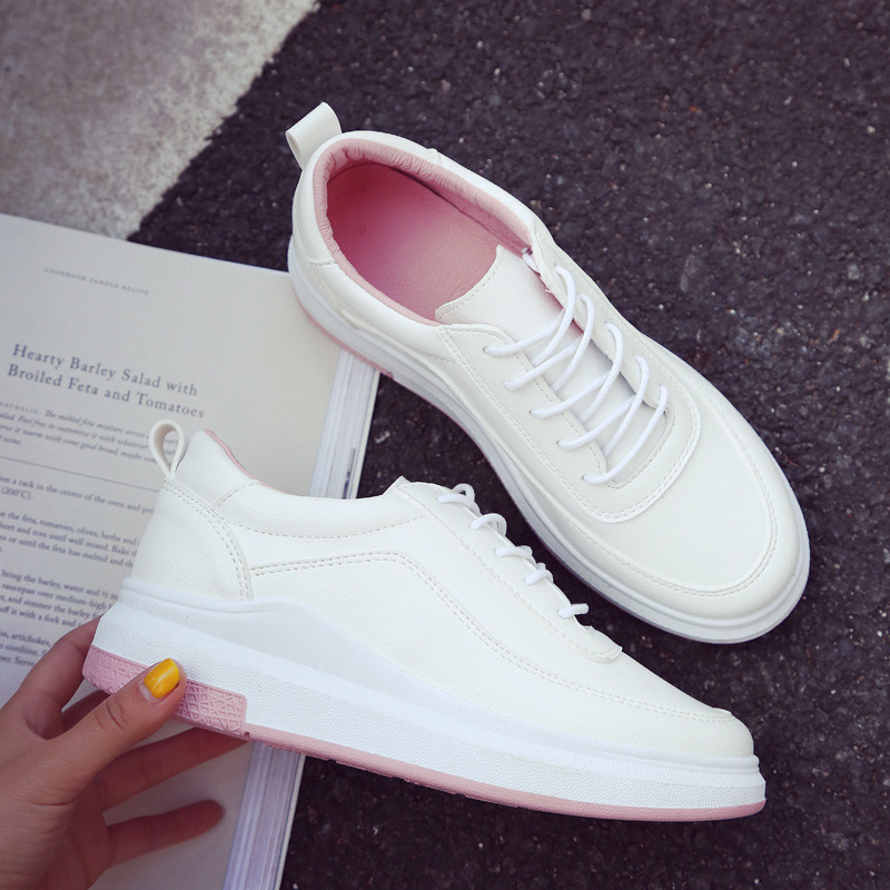 2018 four seasons new spell color sports shoes  female students board shoes thick platform shoes Gump travel shoes basket femme