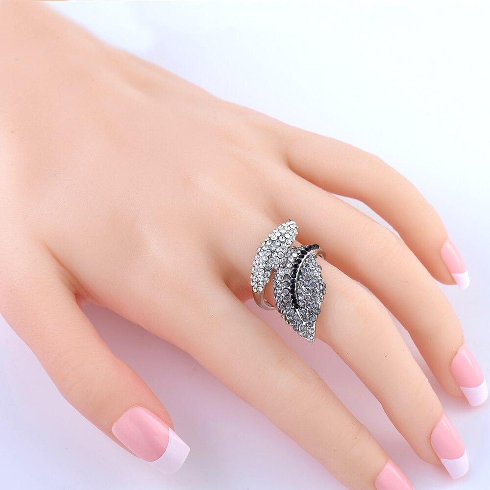 ᐃFashion Jewelry Retro Rhodium Plate Black/Crystal Rhinestone Leaf ...