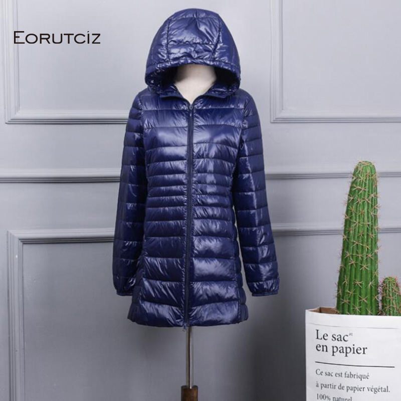 EORUTCIZ Winter Ultra Light Long   Down     Coat   Women Plus Size 7XL Warm Hoodie Jacket Vintage Black Autumn Duck   Down     Coat   LM144