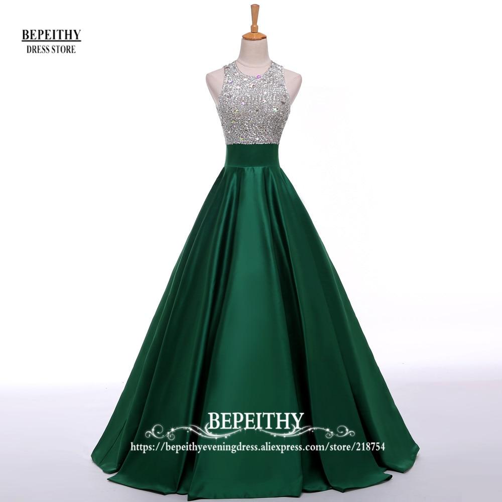 Stvarna slika Linija duga večernja haljina Beadings Kristalna - Haljina za posebne prigode - Foto 5