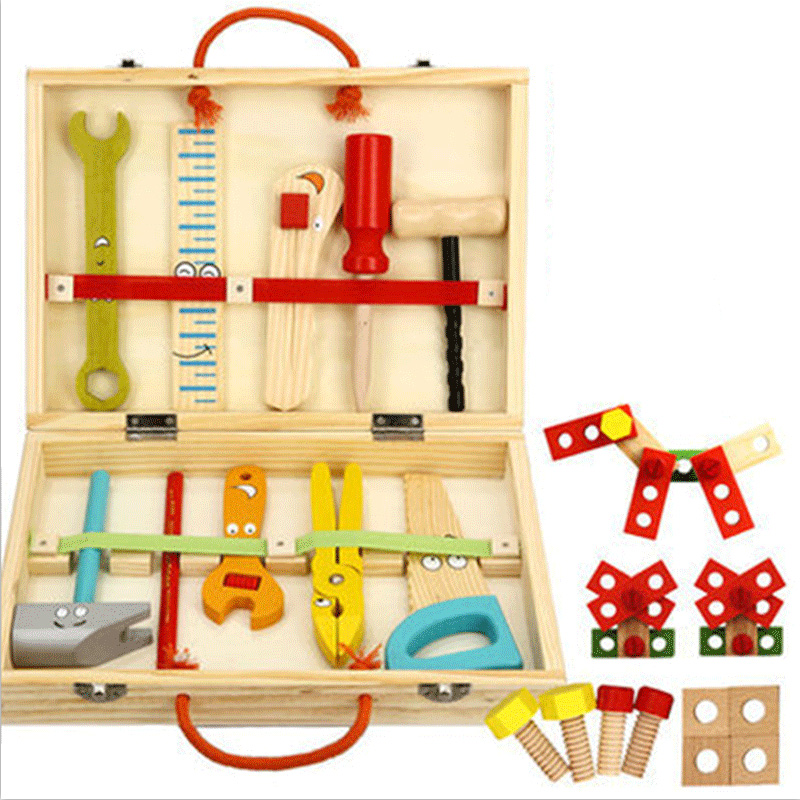Wooden Tools Puzzle Toys Children Pretend Play Wooden Tool Toys Kids Multifunction Educational Puzzle Toys for Children with Box wooden toys цифры d26