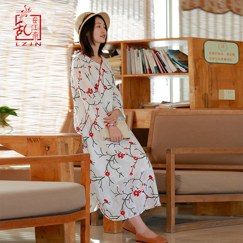LZJN Female Spring and Autumn 2019 New Cotton and Linen Dresses Women's White Loose Retro Ethnic Style Embroidery Long Dress-in Dresses from Women's Clothing    1