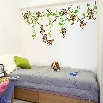 Monkeys Vinyl Tree Wall Stickers For Kids Rooms-Free Shipping For Kids Rooms tree wall decal