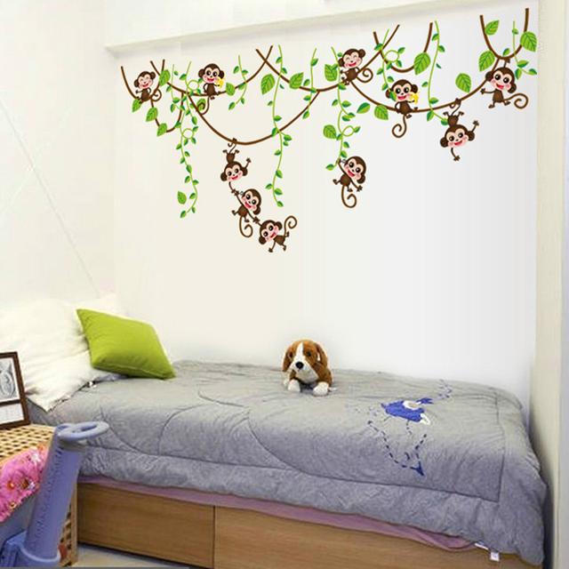Monkeys Vinyl Tree Wall Stickers Kids Rooms Decor Children Wall Decals Animals Wallpaper Mural Baby Wall Sticker Home Decoration