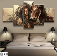 Hot Sales Without Frame 5 Panels Picture Field Primitive Indian Canvas Print Painting Artwork Wall Art Wholesale