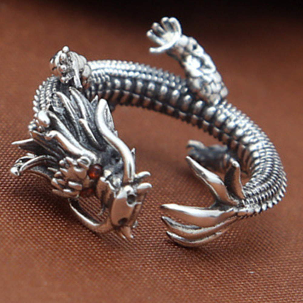925 Sterling Silver Dragon Ring Jewelry Retro Thai Silver Tyrants Dragon Personality Creative New Trend Opening Rings все цены