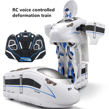 voice remote control one key deformation RC robot and train