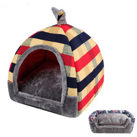 Super Flag Stripe Pattern Pet Dog House Cotton Fleece Puppy Warm Winter Bed Foldable Pet Cat Sofas Beds for Small Large Dog