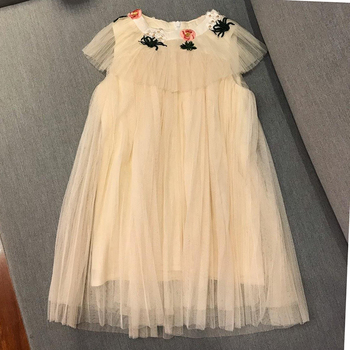 19 Childen Dress Summer Dresses Girls Princess Vestido Mesh Embroidery Party Costume Christmas Clothing High Quality