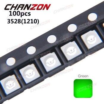 100pcs SMD 3528 1210 Chip LED Diode Green Light 20mA 3V Surface Mount SMT Technology Light-Emitting Diode Lamp LED Beads for PCB