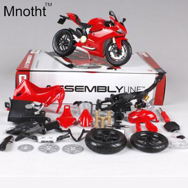 1:12 DCT 1199 Red Assembly Line DIY Diecast Motorcycle Model Mini Motorcycle Vehicle Toys Gift for Kids Birthday and Collection