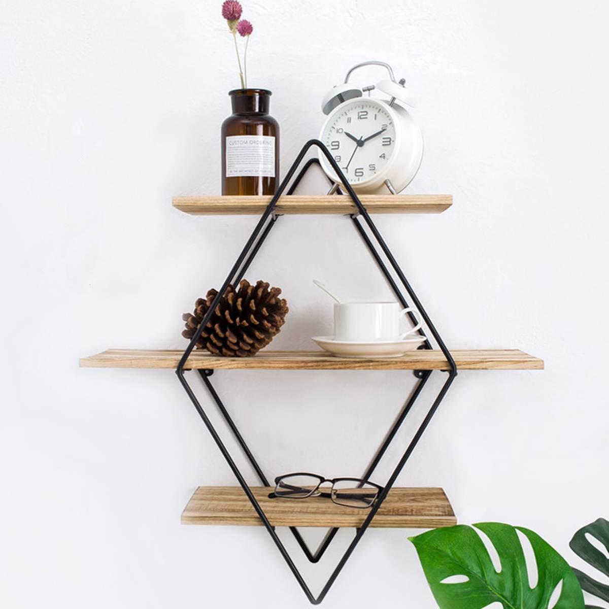 Mensole Da Parete Cucina retro, metallo, ferro da parete in legno di stoccaggio