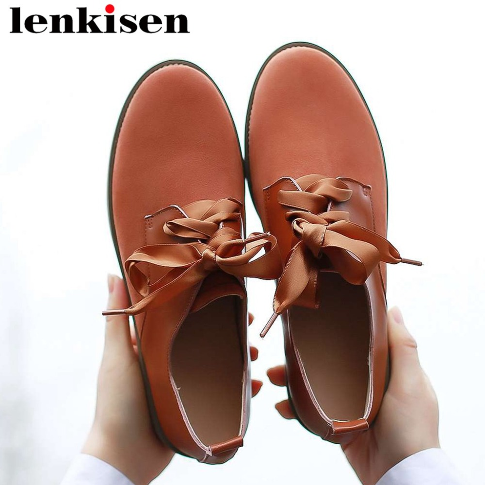 2019 new arrival genuine leather round toe low heels lace up goegeous riband casual shoes vintage british school cozy pumps L80