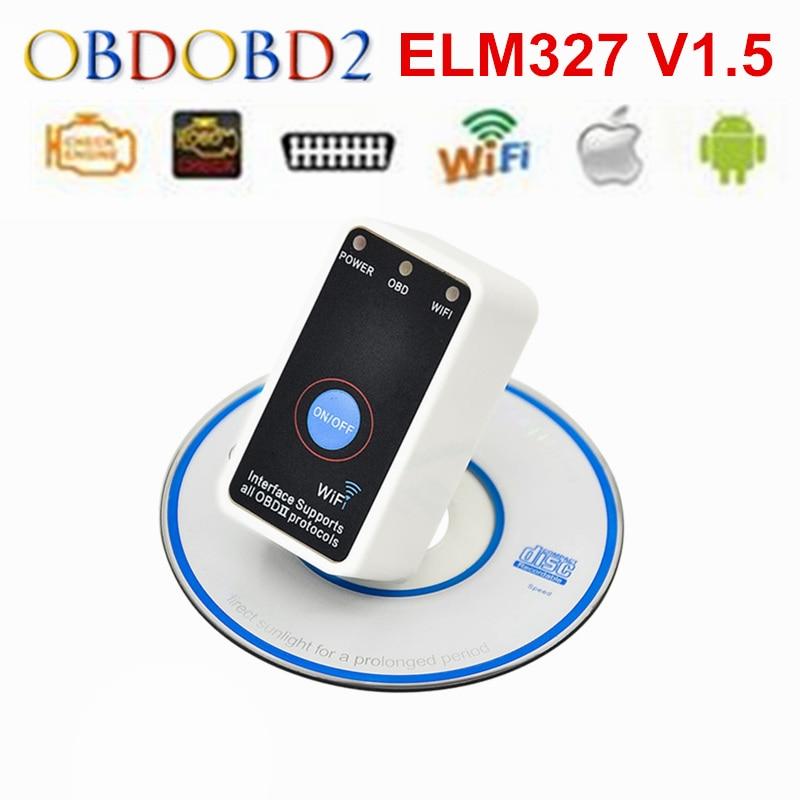 Prix pour V1.5 Super Mini ELM327 Wifi ELM 327 Blanc OBD2 OBD II CAN-BUS Outil De Diagnostic le Commutateur Électrique Fonctionne sur Android Symbian Windows