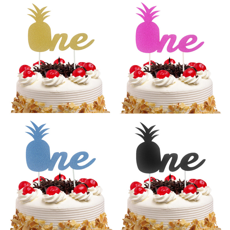 Cake Toppers Glitter Pineapple ONE Cupcake Topper Cake Flags Kids Baby 1st Birthday Wedding Bride Party Baby Shower Baking DIY