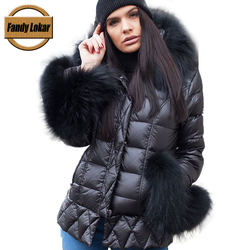 Fandy Lokar Duck Down Jackets Women Winter Warm Real Big Raccoon Fur Hooded Coats Overcoat Female Real Rabbit Fur Down Jacket
