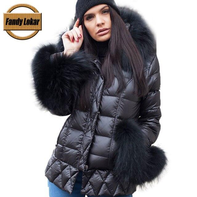 Fandy Lokar куртки-пуховики женские зимние теплые настоящий большой енот меховые пальто с капюшоном пальто женские пуховики из натурального кроличьего меха