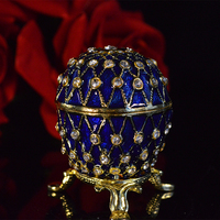 Free Shipping Royal Blue Imperial Russian Egg Enameled Jewelry Trinket Box Figurine For Souvenir