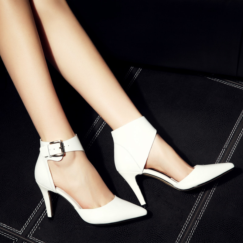 YMECHIC 2018 Office Lady Elegant Real Genuine Leather High Heels Ankle Buckle Strap White Black Womens
