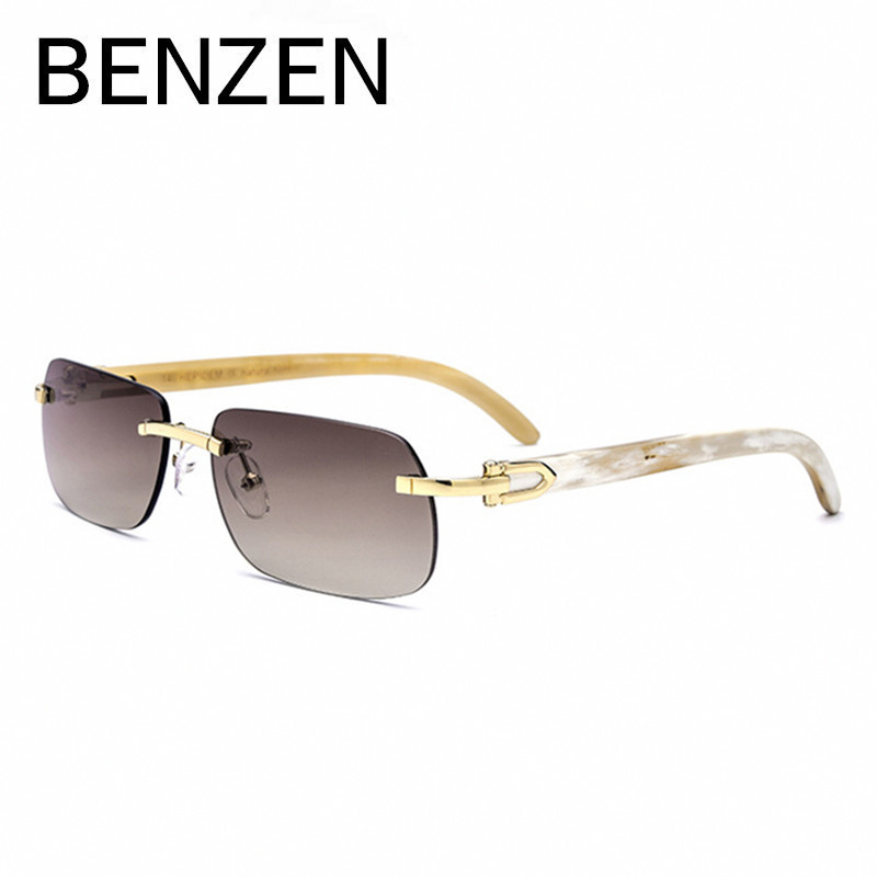BENZEN Rimless Sunglasses Women Luxury Handmade Genuine Horn Female Sun Glasses UV