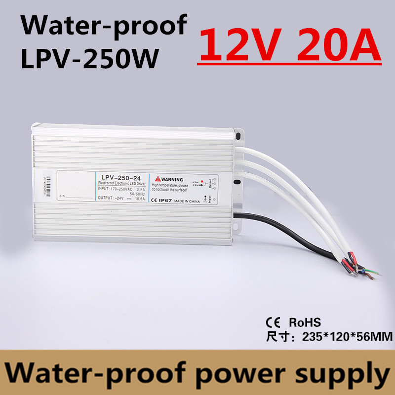 Factory outlet 250W 12V 20A IP67 Waterproof LED power supply outdoor use for led strip Driver Lighting Transformer (LPV-250-12) led driver transformer waterproof switching power supply adapter ac170 260v to dc48v 200w waterproof outdoor ip67 led strip