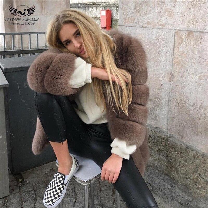 Tatyana Furclub réel manteau de fourrure manteau de fourrure de renard naturel pour les femmes veste fille hiver manteau fille rose col rond à manches longues Style de rue - 2