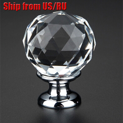30pcs K9 Clear Crystal Round Knobs Furniture Knobs Kitchen Glass Drawer Cabinets Handles Drawer Pulls Closet