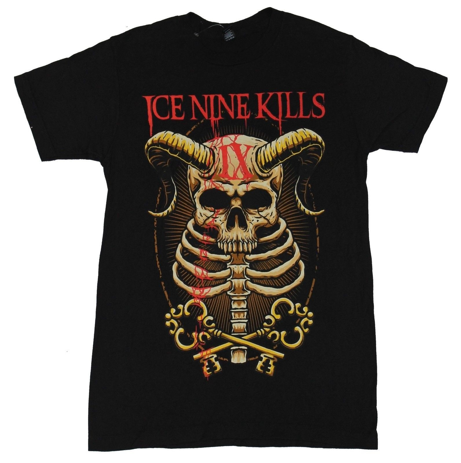 Ice Nine Kills Mens T-Shirt - Horned Skull Ribcage IX Key Image