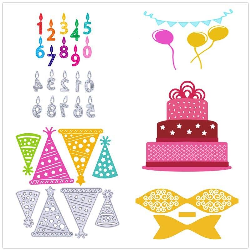 Mental Cutting Dies for Scrapbooking Numbers Happy Birthday Balloon DIY Metal Cutting Die Stencil Scrapbooking Embossing Craft