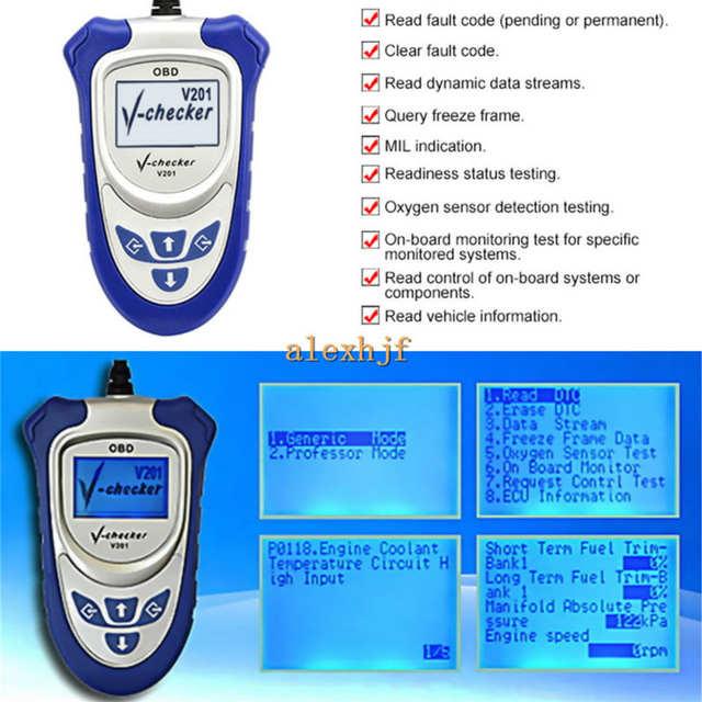 Car Code Reader Can-bus OBD II Scanner, V-checker V201, Diagnosis engine  system of OBD compliant cars, Retrieve ECU information