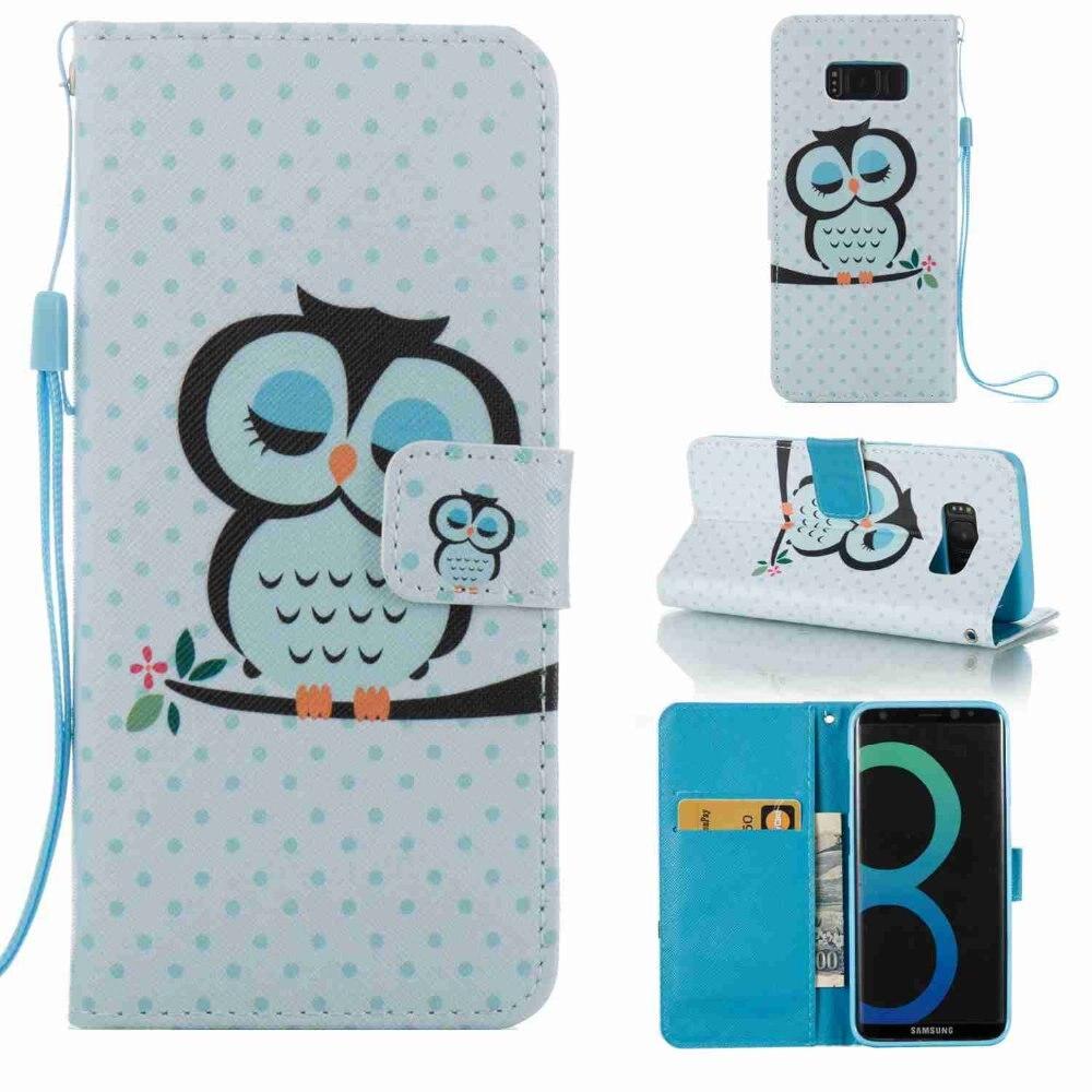 Мода красочные картины мультфильм Спящая птичка Стенд Флип кожаный бумажник чехол для Samsung S8 сотовый телефон Чехлы caque
