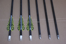 Free shipping carbon arrow 12 pcs 31″ tiger stripe TPU vane spine 600 archery bow shooting outdoor sport