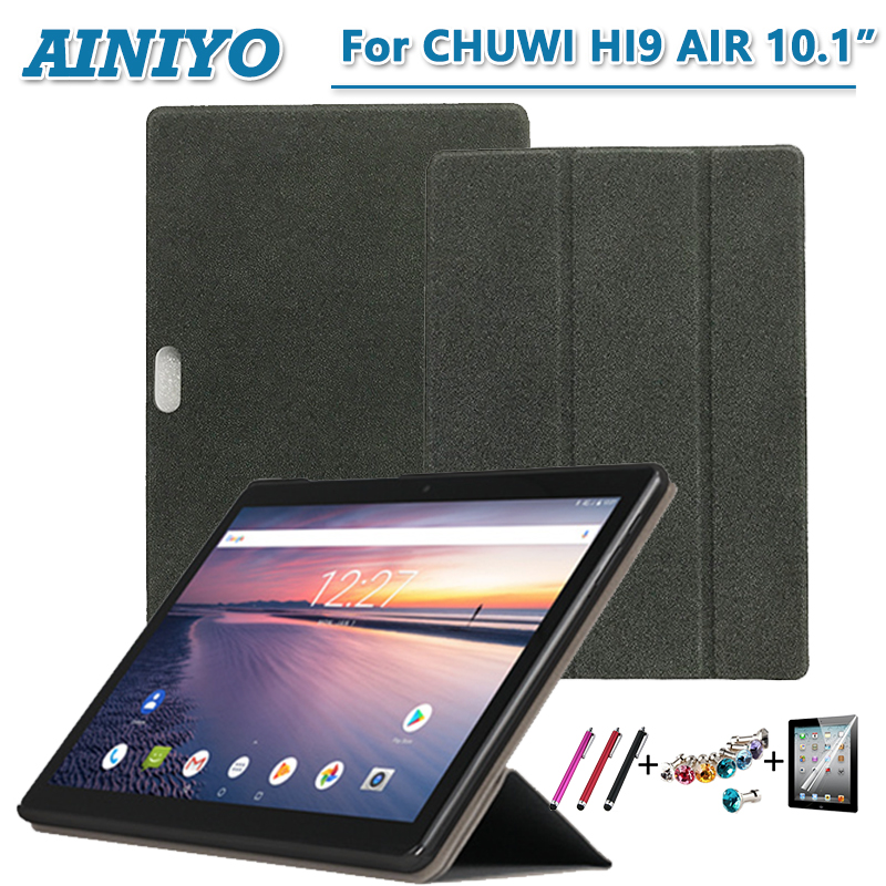 For Chuwi Hi9 air Tablet Case PU Leather Folding Stand Cover for 10.1'' Chuwi Hi9 Air+Stylus Pen+Screen Film tempered glass for chuwi hi9 pro 8 4 inch tablet pc screen protector film for newest chuwi hi9 pro