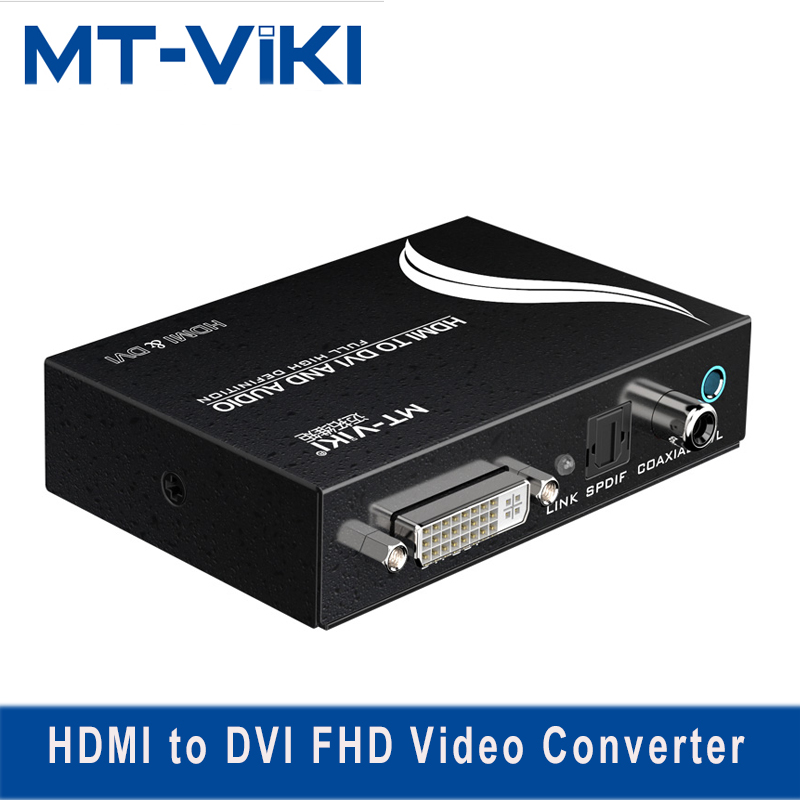 MT-VIKI HDMI to DVI Converter with Audio SPDIF XBOX PS4 to DVI Monitor 1 Point 2 HD Converter Support 1920*1080P MT-HDV13 mt viki dv4h 4 port dvi splitter distributor video sharing 1 input to 4 output multiple lcd monitor synch display mt dv4h